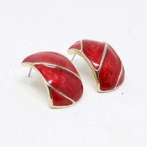 Magenta Gold Tone Pierced Post Earrings